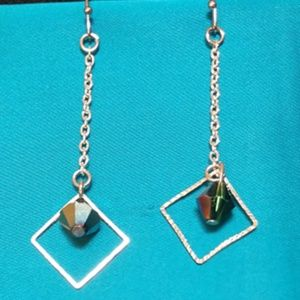 Jewelry - Silver Chain Square Dangle Earrings